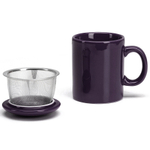 Omniware Aubergine Ceramic Infuser Tea Mug with Lid