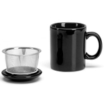 Omniware Black Ceramic Infuser Tea Mug with Lid