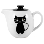 OmniWare Teaz Cat Noir Stoneware 24 Ounce Teapot with Stainless Steel Mesh Infuser