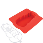 Chicago Metallic Red Silicone Snowman Cake Pan and Stencil