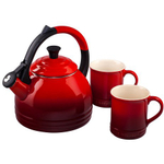 Le Creuset 3 Piece Cherry Enameled Steel Kettle and Mug Set
