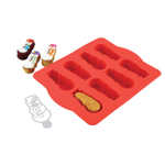Chicago Metallic Red Silicone Snowman Cakelet Pan and Stencil