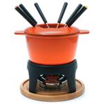 Swissmar Sierra 11 Piece Orange Cast Iron Meat Fondue Set