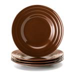 Rachael Ray Brown Stoneware Double Ridge Salad Plate, Set of 4