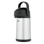 Thermos Vacuum Insulated 18/8 Stainless Steel Pump Pot with Black Accents, 2.5 Liter
