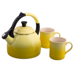 Le Creuset 3 Piece Soleil Yellow Enameled Steel Kettle and Mug Set