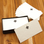 Homart Fleur de Lys Printed Handmade Paper Place Card, Set of 32