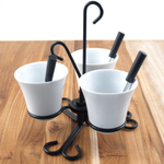 Trudeau Colonial Condiment Set with 3 White Stoneware Bowls