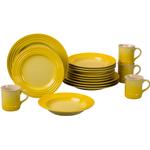 Le Creuset 16 Piece Soleil Yellow Stoneware Dinnerware Set, Service for 4