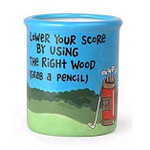 "Our Name is Mud Ceramic ""Lower Your Score"" Golf Pencil Cup"