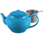 Le Creuset Marseille Blue Stoneware Teapot with Stainless Steel Infuser, 1 Quart