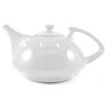 OmniWare Teaz White Stoneware Athena 30 Ounce Teapot with Stainless Steel Mesh Infuser