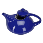 Omniware Teaz Cafe Athena Cobalt Blue Stoneware Teapot with Stainless Steel Infuser, 30 Ounce