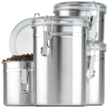 Anchor Hocking 4 Piece Stainless Steel Canister Set with Clear Clamp Lid
