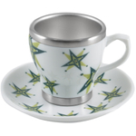 Pearl Cafe Stainless Steel and Porcelain Green Espresso Cup and Saucer Set, Service for 4