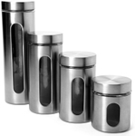 Anchor Hocking 4 Piece Palladian Brushed Stainless Steel Window Cylinder Set