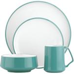 Dansk Kobenstyle 4 Piece Teal Stoneware Dishware Set, Service for 1