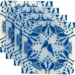 Modern Twist Coaster Notz Birds In Trees Royal Blue Silicone Coaster, Set of 4