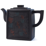 Yixing Zodiac Animal Squares Rectangular Teapot, 15 Ounce