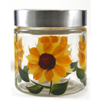 Grant Howard Glass Sunflower Storage Jar, 28 Ounce