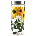 Grant Howard Glass Sunflower Storage Jar, 75 Ounce