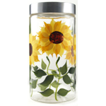 Grant Howard Glass Sunflower Storage Jar, 58 Ounce