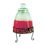 Grant Howard Jumbo Beehive Glass 2.3 Gallon Beverage Dispenser with Spigot and Metal Stand