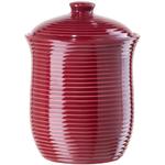 Oggi Medium Red Ceramic Ribbed Food Storage Canister