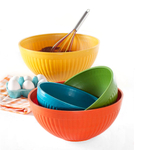 Nordic Ware 4 Piece Multi Colored Plastic Prep and Serve Mixing Bowl Set