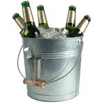 Artland Oasis Distressed Galvanized Steel Beverage Pail and Bottle Opener