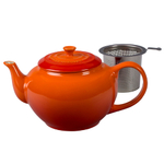 Le Creuset Flame Stoneware 1 Quart Teapot with Stainless Steel Infuser