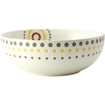 Rachael Ray Circles and Dots White Stoneware Serving Bowl, 10 Inch