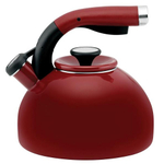 Circulon Morning Bird Rhubarb Red Carbon Steel Teakettle, 2 Quart