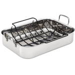 Anolon Tri-Ply Clad Stainless Steel Roaster with Nonstick Rack, 17 x 12.5 Inch