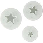 Foxrun White Plastic Star Fondant Plunger Cutter Set