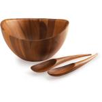 Nambe Harmony Acacia Wood Salad Bowl with Servers
