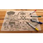 Modern Twist Kid Box Farm Buddies Placemat with 4 Markers