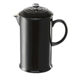 Le Creuset Shiny Black Stoneware French Press Coffee Maker, 1 Quart