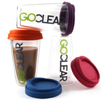 GoClear Grape Double Walled Glass Tumbler with Silicone Lid, 10 Ounce