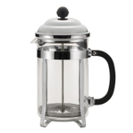Bonjour Bijoux Brushed Stainless Steel and Glass French Press, 12 Cup