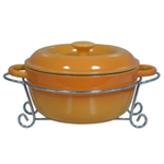 Mustard Yellow Covered Casserole Bake Dish and Serving Rack