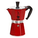 Bialetti Moka Express Red Stovetop Espresso Coffee Maker, 6 Cup