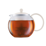 Bodum Assam Glass Tea Press with White Stainless Steel Lid, 34 Ounce