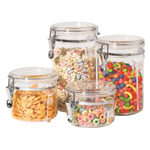 Oggi Acrylic 4 Piece Clamp Lid Canister Set with Spoons