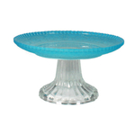 Canvas Home Bari Glass Small Cake Stand with Clear Base and Blue Plate