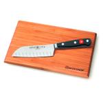 Wusthof Classic 5 Inch Hollow Edge Santoku with Bamboo Cutting Board