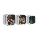 Three by Three Hold Up White Tin Storage Bin, Set of 3