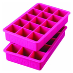 Tovolo Perfect Cube Fuchsia Silicone Ice Tray, Set of 2