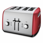 KitchenAid Empire Red Stainless Steel 4 Slice Toaster with Manual High-Lift Lever