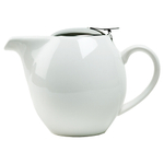 OmniWare Teaz White Stoneware 24 Ounce Teapot with Stainless Steel Infuser